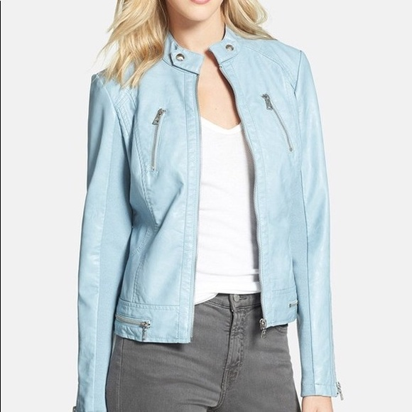 IVONNE Baby blue leather jacket